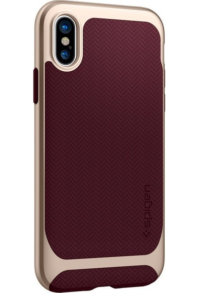 Spigen Apple iPhone XS / iPhone X Kılıf Neo Hybrid Burgundy - 057CS22168