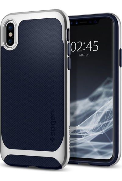 Spigen Apple iPhone XS / iPhone X Kılıf Neo Hybrid Satin Silver - 057CS22167