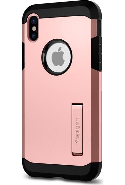 Spigen Apple iPhone XS / iPhone X Kılıf Tough Armor Blush Gold - 057CS22162