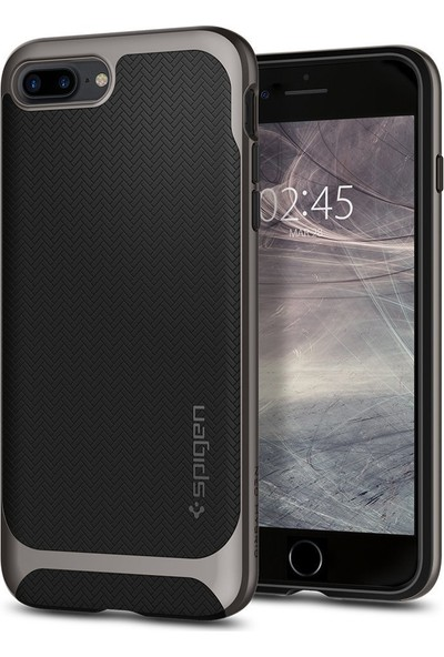 Spigen Apple iPhone 8 Plus - iPhone 7 Plus Kılıf Neo Hybrid Herringbone Gunmetal - 055CS22227