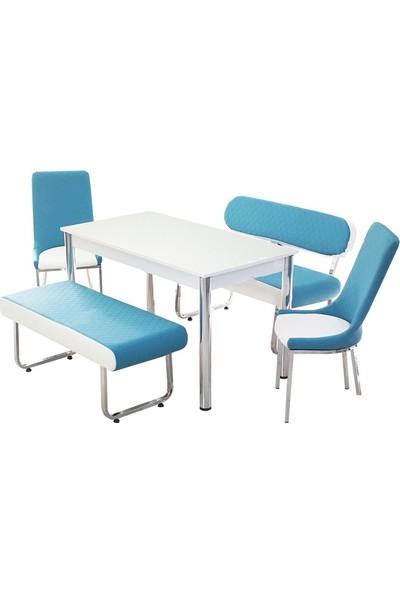 Kutuphome Masa Sandalye Takımı Bank Takım Mavi