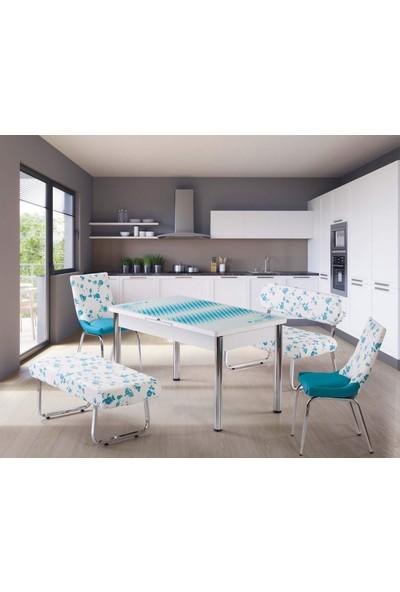 Kutuphome Masa Sandalye Takımı Bank Takım Açılır Masa Mavi Çiçek