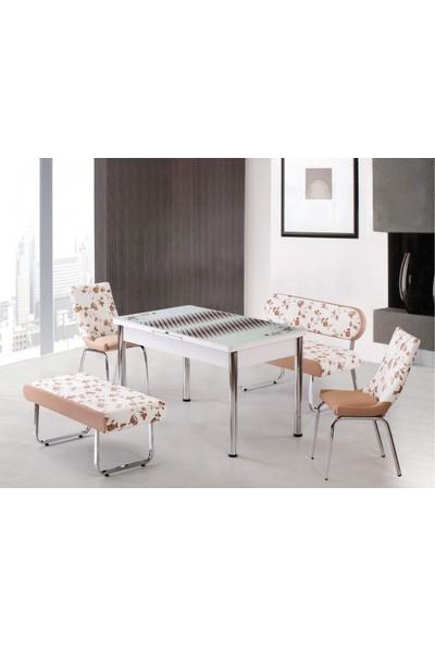 Kutuphome Masa Sandalye Takımı Bank Takım Açılır Masa Krem Çiçek