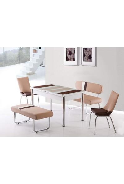 Kutuphome Masa Sandalye Takımı Bank Takım Açılır Masa Krem Kahve