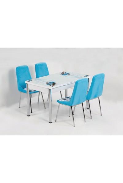 Kutuphome Masa Sandalye Takımı Açılır Masa İcon Mavi