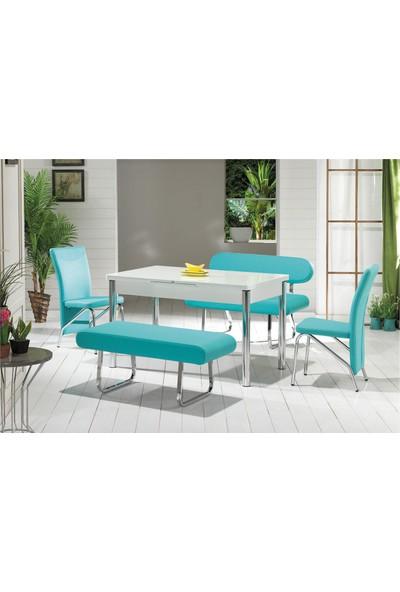 Kutuphome Masa Sandalye Takımı Banklı Takım C Yeşil