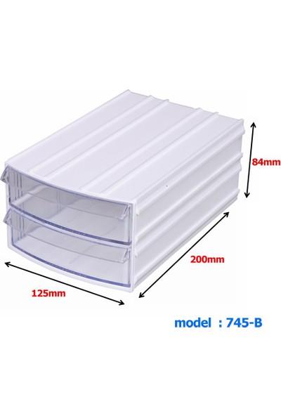 Mimbox 745 Beyaz Plastik 2 Çekmeceli Kutu 125X200X84Mm