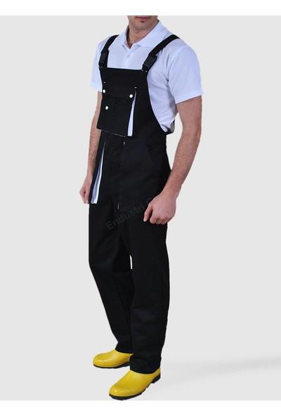 Şensel Taraftar Bahçıvan Tulum Askılı İş Tulum İş Elbisesi Siyah Beyaz
