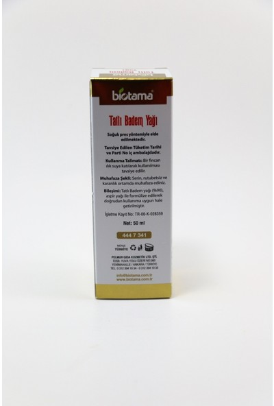 Biotama Tatlı Badem Yağı 50 ml Soğuk Pres
