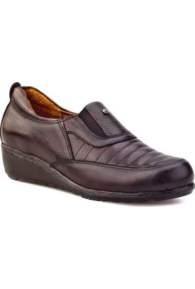 Cabani Dolgu Topuk Günlük Kadın Ayakkabı Kahve Deri