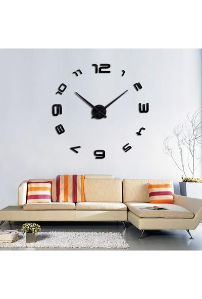 Dıy Clock Yeni Nesil 3D Duvar Saati Model 4 (Siyah)