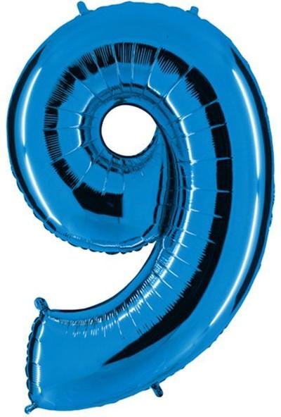 Pandoli Mavi Renk 100 Cm Folyo Balon Rakam 9 Yaş