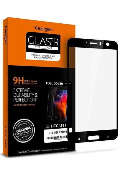 Spigen HTC U11 Cam Ekran Koruyucu Full Cover Black - H11GL22048