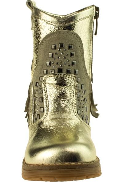 Perlina Kız Çocuk 703 Fermuarli Altın Çizme