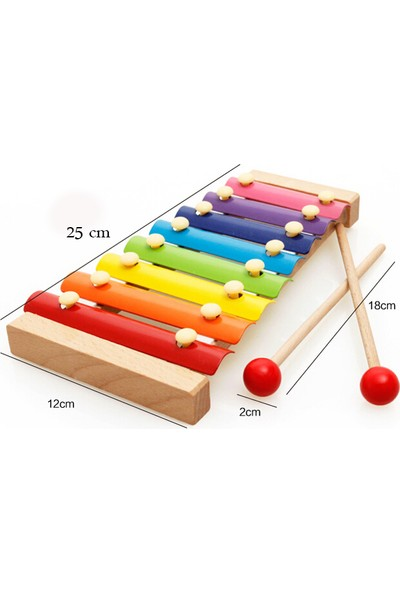 Wooden Toys Eğitici Ahşap Ksilofon 8 Nota 8 Ton 25 cm 8 Tuşlu Sesli Selefon Oyuncak