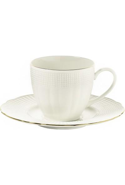 Kütahya Porselen Bone İlay Altın File Kahve Fincanı Takımı