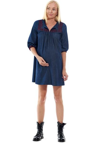 Motherway Hamile Nakışlı Elbise