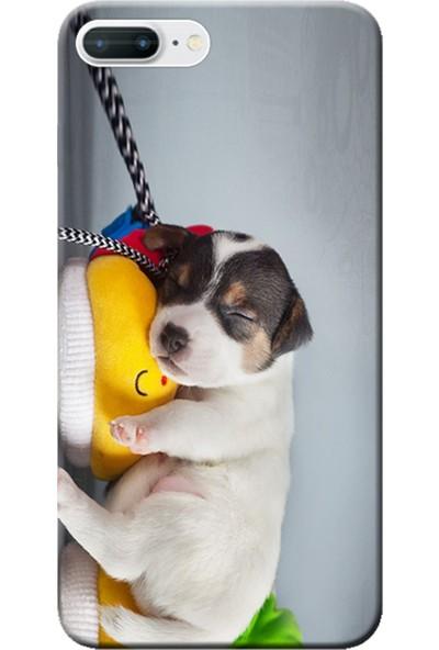 Kılıf Merkezi iPhone 7 Plus Uyuyan Köpek Baskılı Silikon Kılıf