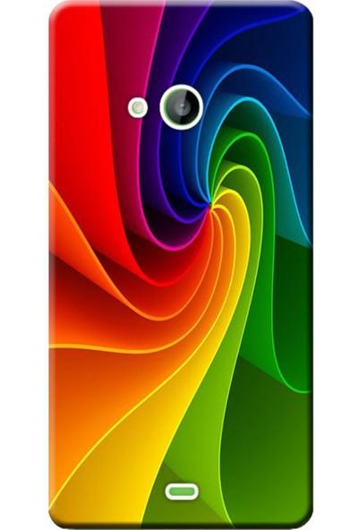 Kılıf Merkezi Microsoft Lumia 535 Renk Dalgası Baskılı Silikon Kılıf