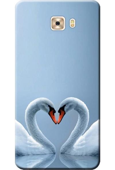 Kılıf Merkezi Samsung Galaxy C9 Pro Sm-C9000 Kuğ Ve Kalp Baskılı Silikon Kılıf