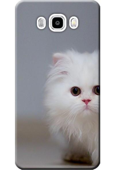 Kılıf Merkezi Samsung Galaxy J7 2016 Sm-J710 Beyaz Kedi Baskılı Silikon Kılıf