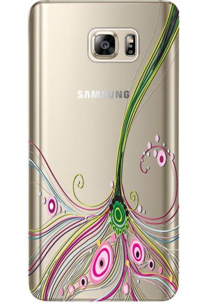 Kılıf Merkezi Samsung Galaxy Note 5 Renli Çizgi Baskılı Silikon Kılıf