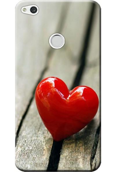 Kılıf Merkezi Huawei P9 Lite 2017 Kırmızı Kalp Baskılı Silikon Kılıf