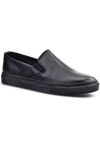 Cabani Bağcıksız Sneaker Kadın Ayakkabı Siyah Naturel Floter Deri