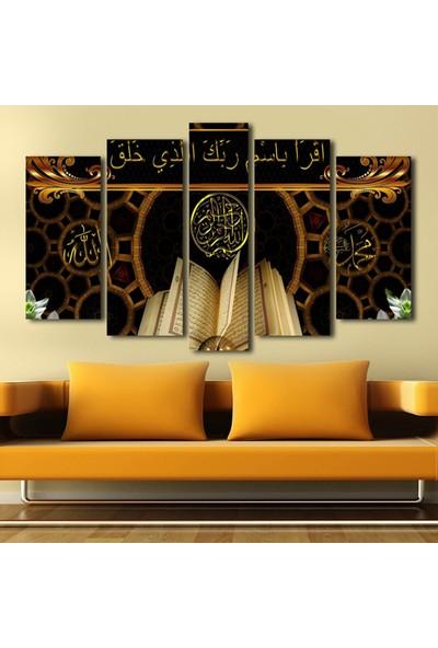 Yedirenkdekor Kuran Dini Dekoratif 5 Parça Kanvas Tablo