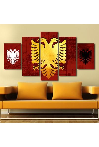Yedirenkdekor Arnavutluk Bayrağı Dekoratif 5 Parça Kanvas Tablo