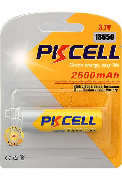 Pkcell Lityum Şarj Edilebilir Pil 2600Mah