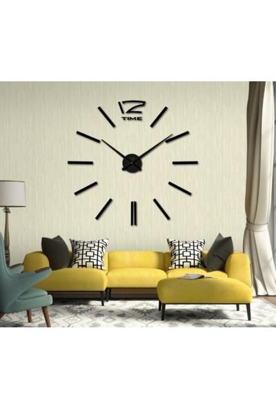 Dıy Clock Yeni Nesil 3D Duvar Saati Model 1 (Siyah)