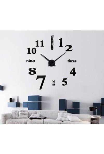 Dıy Clock Yeni Nesil 3D Duvar Saati Model 3 (Siyah)