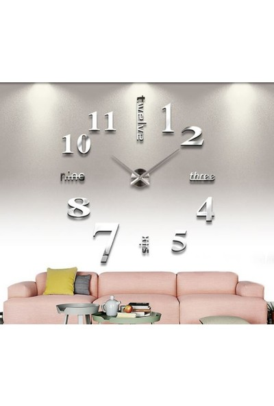 Dıy Clock Yeni Nesil 3D Duvar Saati Model 3 (Gümüş)