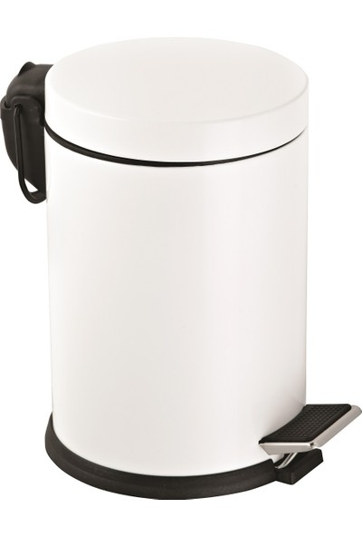 5 Lt.Renkli Pedallı Çöp Kovası Beyaz