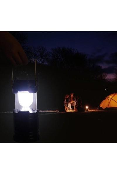 Pratik Güneş Enerjili Şarj Edilebilir Usb Girişli Kızaklı Kamp Feneri