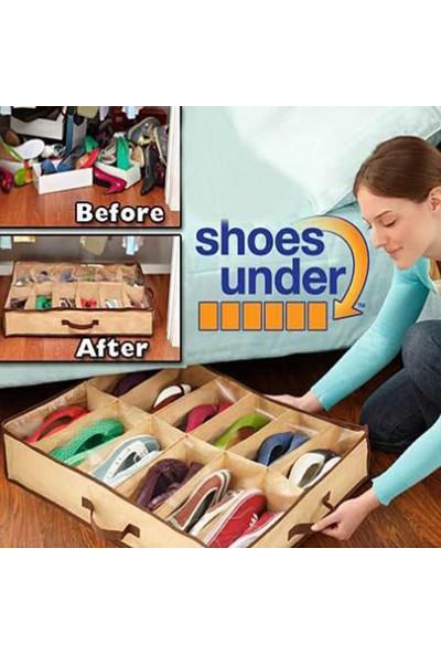 Pratik Ayakkabı Saklama Çantası 12 Bölmeli Shoes Under