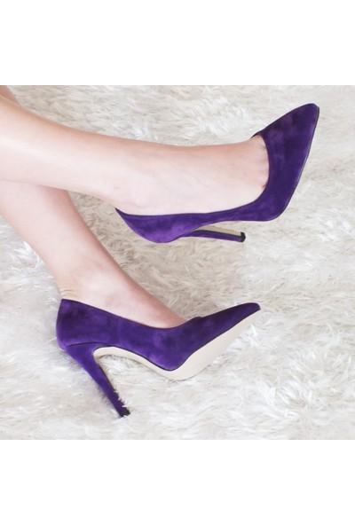 Modabuymus Mor Stiletto Purple Topuklu Kadın Ayakkabı