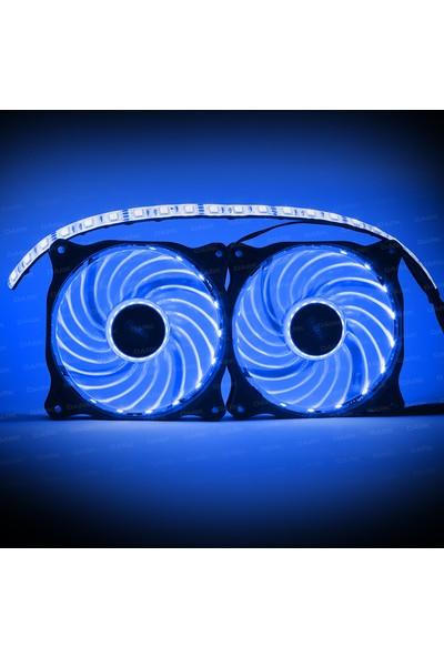 Dark Ultra Bright RGB Multi LED Fan ve Şerit Kit (2x120mm Fan ve 35cm LED Şerit)(DKCKRGB01)