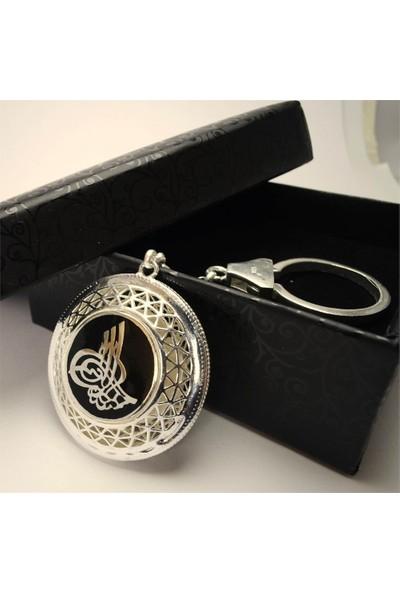 Osmanlı Gümüş Iyı Diriliş Ertuğrul Bayrağı Ve Osmanlı Tuğralı 925 Ayar Gümüş Anahtarlık 24 gr