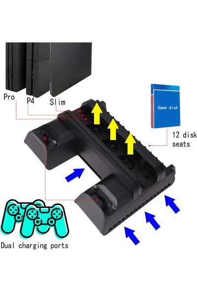 Playaks Ps4 Pro,Slim,Controller Multi Çift Şarj Ve Soğutma Fanı Dikey Stand Ps4,Pro,Slim Şarj Standı
