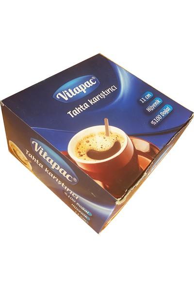 Vitapac Hijyenik Tahta Ahşap Karıştırıcı 1 Paket - 1000 Adet 11 cm Çay ve Kahve İçin