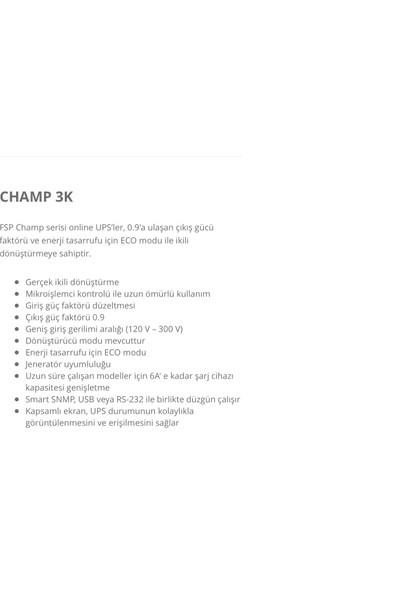 FSP Champ 3K 2700W 3000V Online UPS Güç Kaynağı
