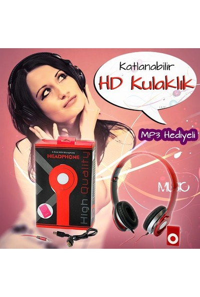 Pratik Headphone Katlanabilir HD Kulaklık ve MP3 Çalar