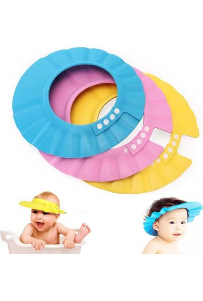 Pratik Ayarlanabilir Bebek Banyo Şapkası Mavi