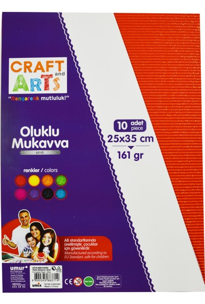 Craft And Arts Oluklu Mukavva Simli 25X35 10'Lu Karışık Poşet