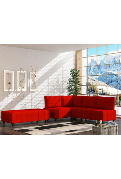 Evdemo Öznur Köşe Koltuk Takımı - Kırmızı