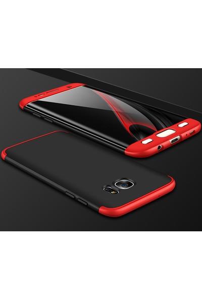 Case 4U Samsung Galaxy S7 Edge 360 Derece Korumalı Tam Kapatan Kılıf Kırmızı - Siyah