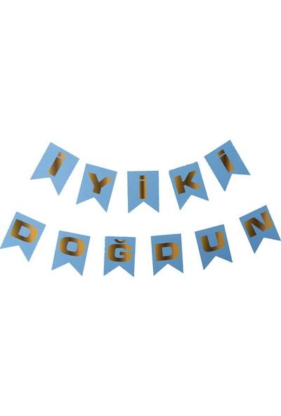 Elitetime Flama Bayrak İyiki Doğdun Set Karton Mavi