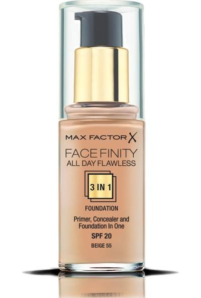Max Factor FaceFinity 3'ü 1 Arada Kalıcı Fondöten 55 Beige